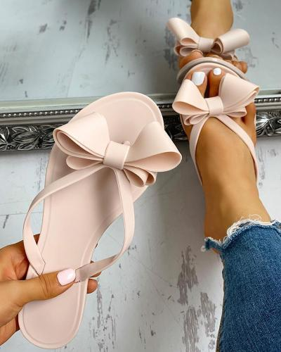 Bowknot Candy Colored Flat Slippers