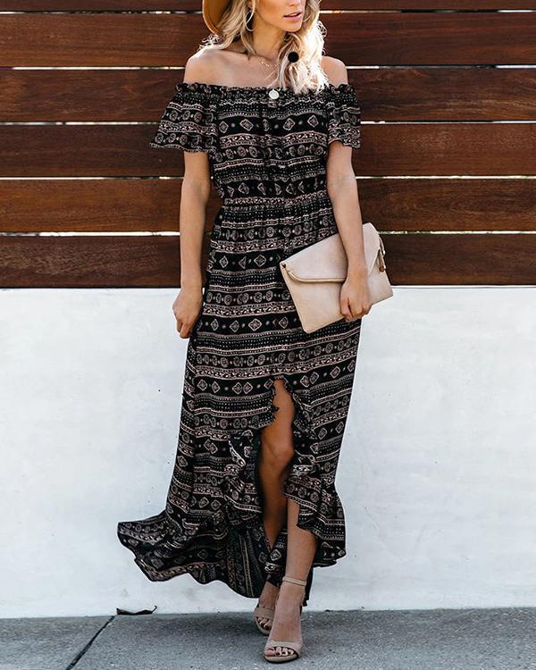 Off The Shoulder High Low Maxi Dress