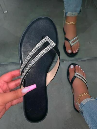 Silver Rhinestone Detailed Straps Slippers