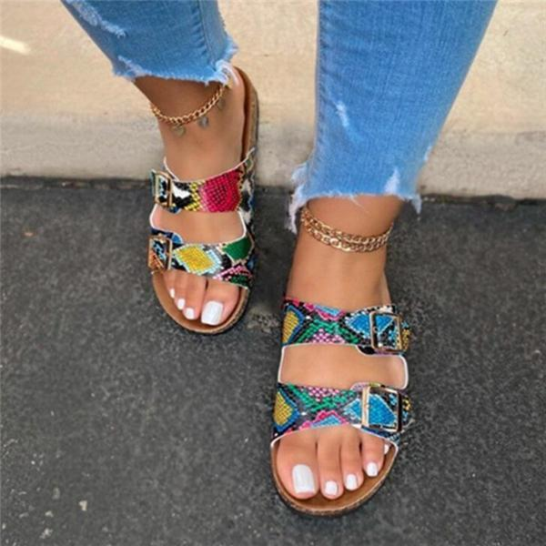 Buckle Women Flat Sandals and Slippers