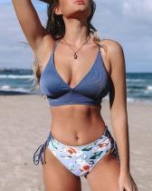 Blue And Floral Lace-Up Bikini Set