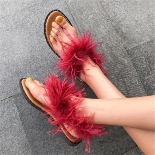 Women's Fashion Feather Flat Sandals