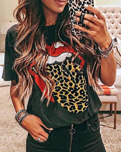 Short Sleeve Lip Print Wild T-Shirt