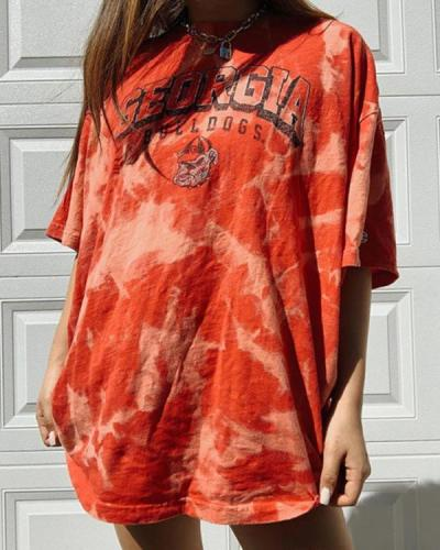 Casual Basic Letter Printed Tie Dye Wild Tops