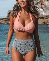 Geometric Print High-waist Pink Twisted Bikini