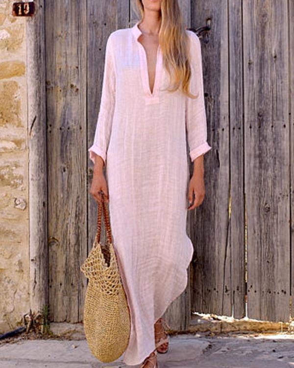 Women Shift Beach Holiday Linen Cotton Long Sleeve Plus Size Dress