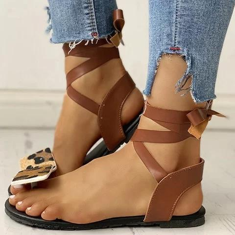 Women Casual Daily Comfy Lace Up Flat Sandals
