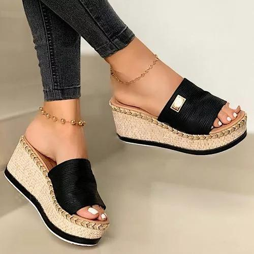 Women's Braided Strap Slingbacks Wedge Heel Slippers