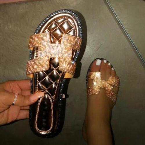 Female Super Cute Rhinestones On Strap Slippers