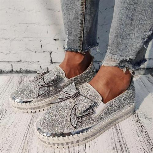 Shining Sparkling Rhinestone Slip-on Loafers Sneakers