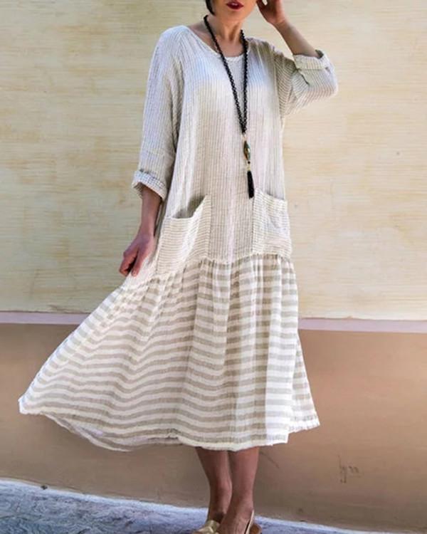 Women Striped  Long Sleeve Vintage Loose Patchwork Swing Maxi Dress