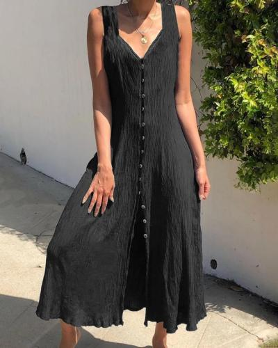 Graceful Solid Button Sleeveless Holiday Daily Fashion Maxi Dresses