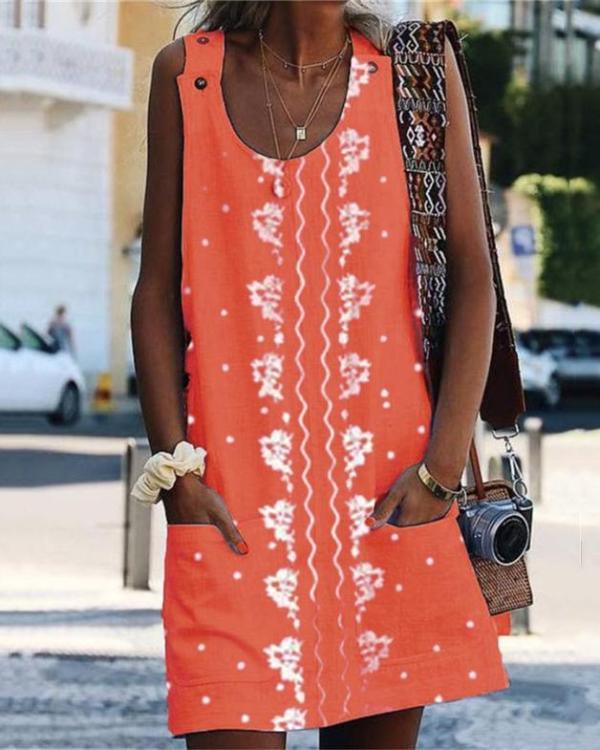 Casual Sleeveless Printed Plus Size Dress