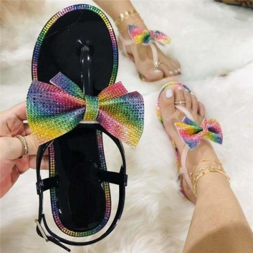 Glitter Bow Rhinestone Sandals