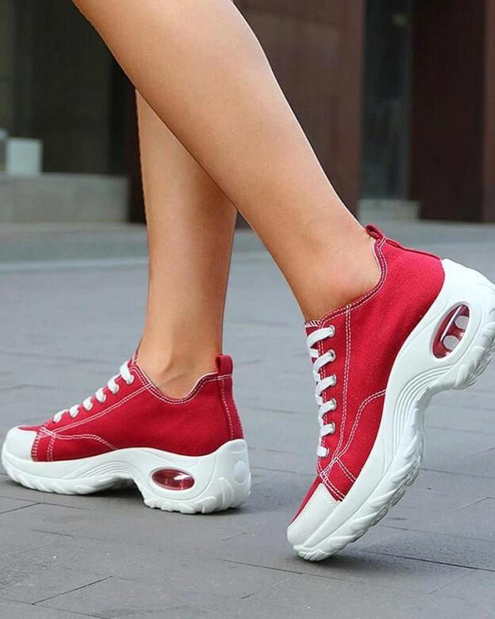 Solid Canvas Air Cushion Sneakers