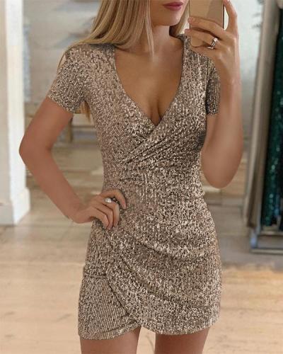 Sexy V-neck Short-sleeve Sequin Hip Dress Club Dress