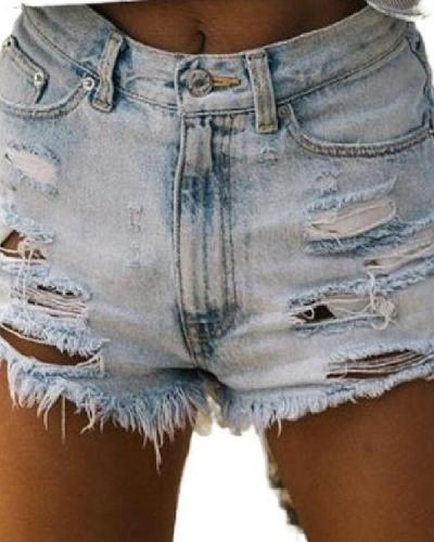Washed Frayed Denim Shorts