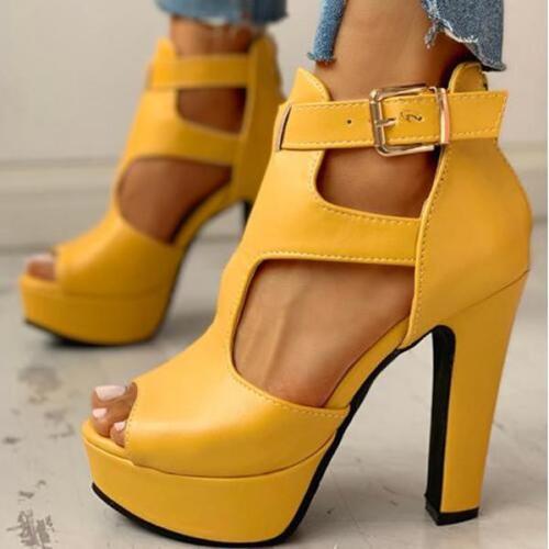 Peep Toe Cutout Platform Chunky Heels