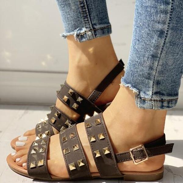 Rivet Multi-Strap Slingback Flat Sandals