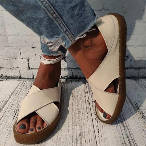 Women Casual Cross-Strap Slip On Sandals