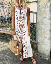 Women V Neck White Shift Daily Floral Plus Size Dress
