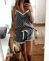 Lace-up Strap V-Neck Stripe Attractive Top & Short Sets