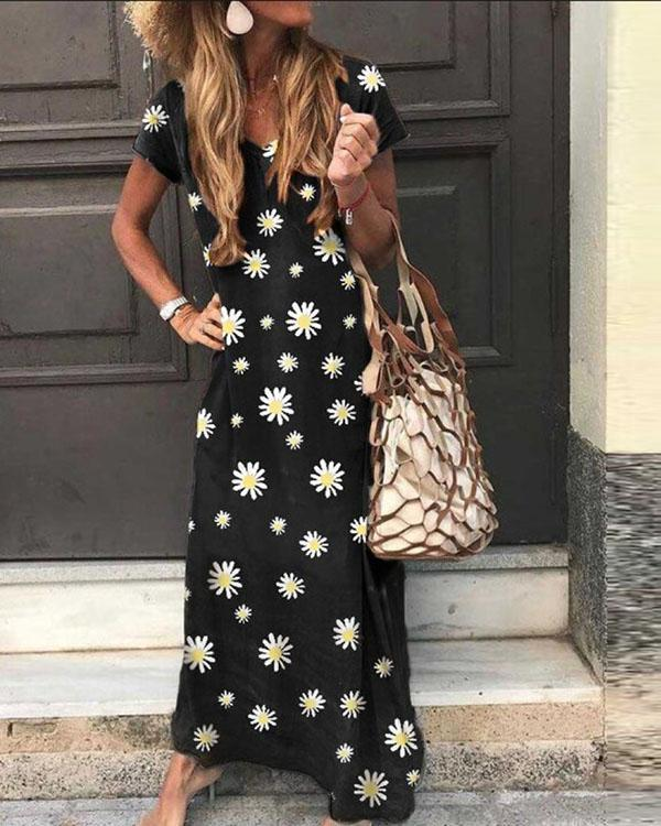 Floral V Neck Casual Short Sleeve Maxi Dresses