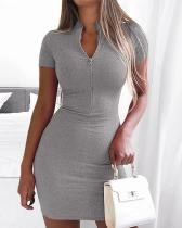 Sexy Solid Slim Zipper V-neck Knitted Dresss