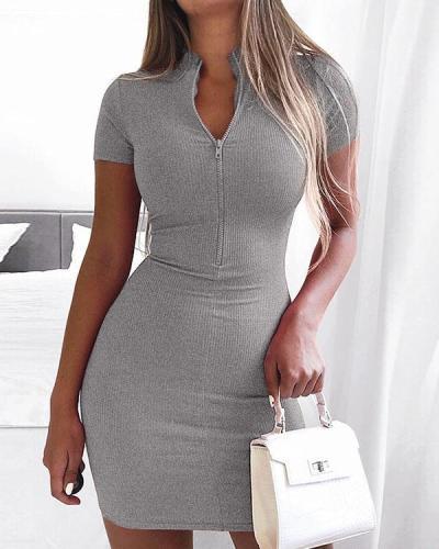 Sexy Solid Slim Zipper V-neck Knitted Dresss