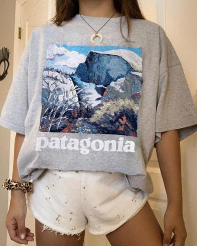 Casual Basic Graphic Printed T-shirts Tops