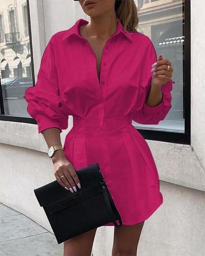 Solid Long Sleeve Tight Waist Shirt Dress