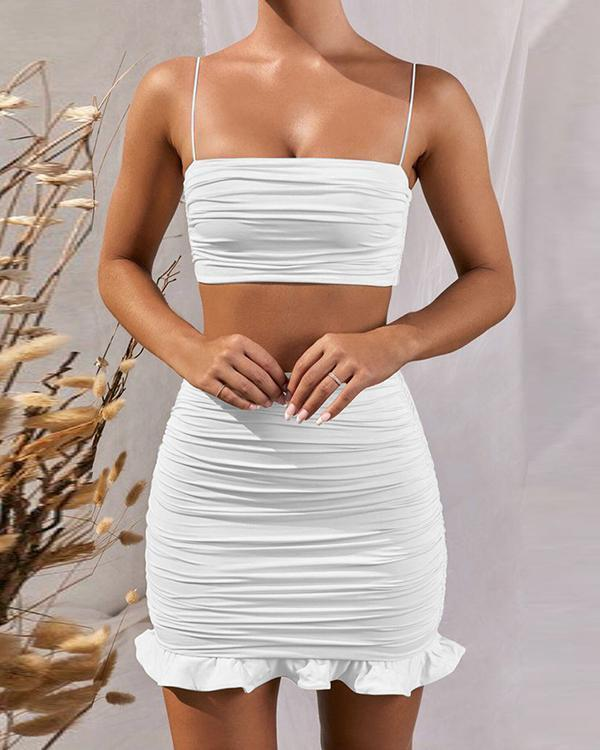 Sexy Solid Spaghetti Strap Tube Top&Hip Skirt Sets