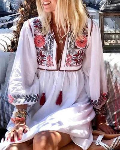 Folka Bohemian Holiday Dresses Shift Daytime Mini Dresses