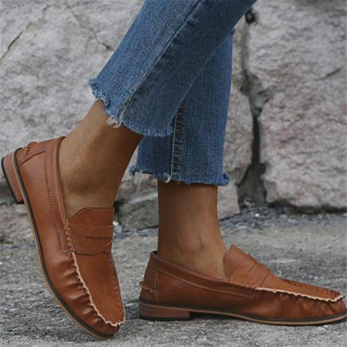Women Vintage Pu Leather Casual Sneakers Low Heel PU Leather Loafers