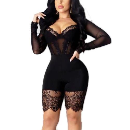 SEXY LACE BODYSUIT LONG SLEEVE