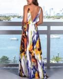 Fashion Strap Floral Print  Colorful Beach Maxi Dress