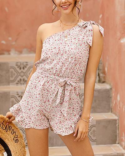 Sweet One Shoulder Floral Print Vacation Jumpsuit