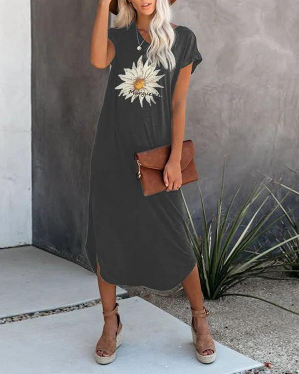 Flower Printed Casual Midi Dresses