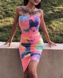 Sexy Tie Dye Print Bodycon Midi Dress