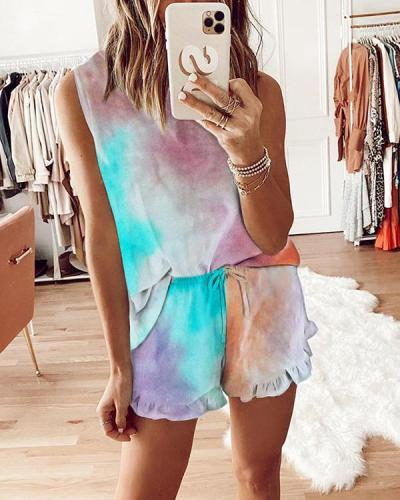 Sleeveless Tie Dye Two Piece Set Lounge Wear