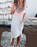 Casual Contrast Color Leopard Maxi Dresses