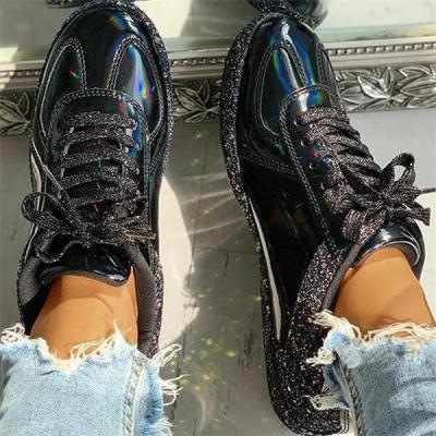 Snakeskin Print Bowknot Tassel Sneakers