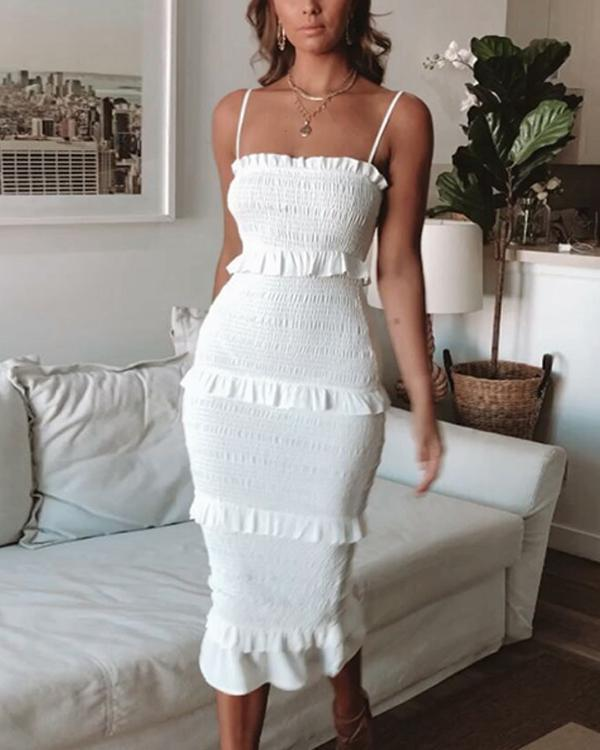Fashion Slim Pleated Sling Cake Midi Dress