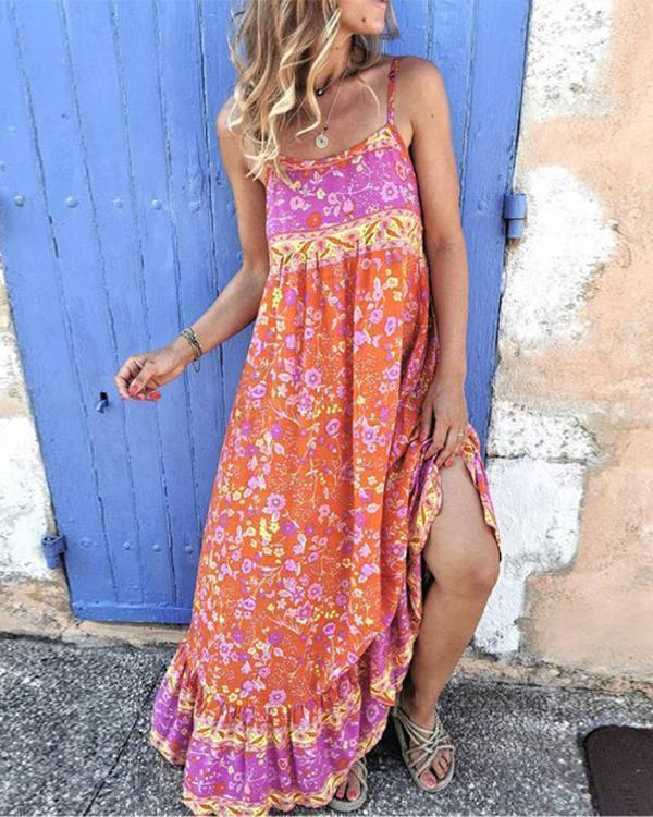Bohemian Floral Print Sling Paneled Frill Maxi Dress