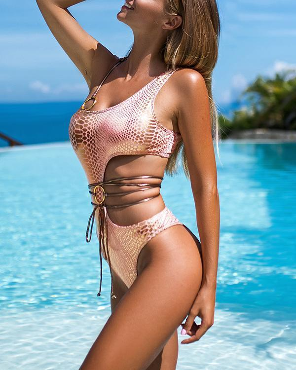 Snake Pattern Bikini Sexy Swimsuit
