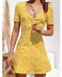 Stylish Print V-Neck Short-Sleeved Mini Dress