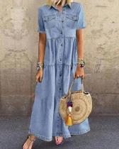 Blue Plain Denim Short Sleeve Shirt Collar Dresses