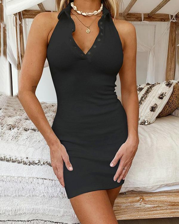 Sexy Rib Button Down V-neck Halter Mini Dress
