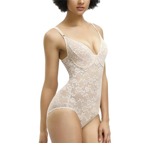 SEXY BODY SHAPER LACE CUP MESH BREATHABLE BODYSUITS