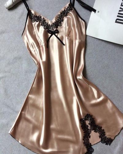 Lace Sexy Trim Satin Sleepwear Cami Dress